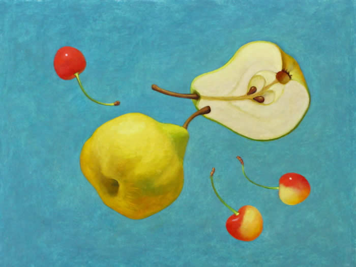 Green Pear - oil on papaer -  by Marlies Ihmels-Herget